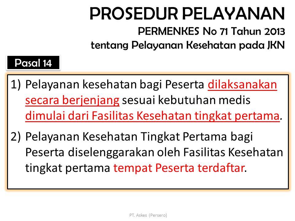 PROSEDUR PELAYANAN PERMENKES No 71 Tahun 2013 tentang Pelayanan Kesehatan pada JKN