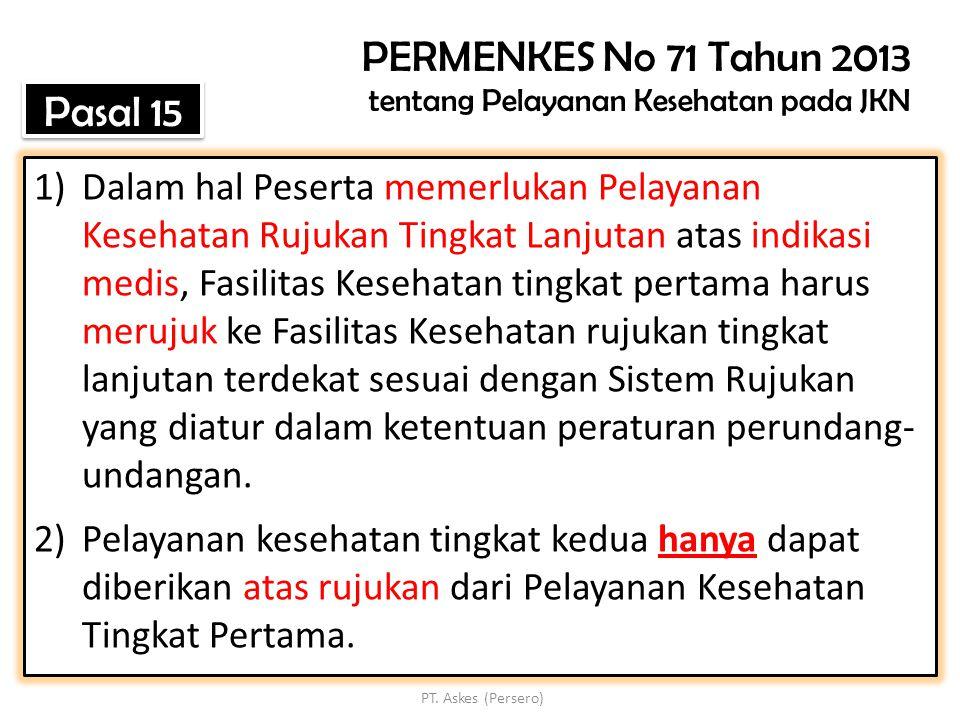 PERMENKES No 71 Tahun 2013 tentang Pelayanan Kesehatan pada JKN
