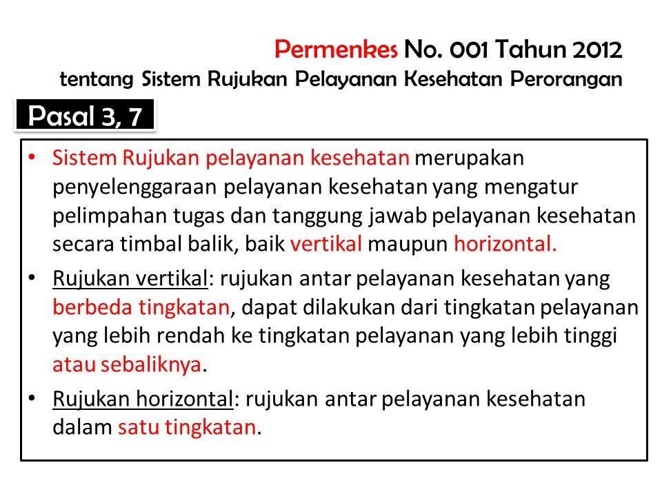 Permenkes No. 001 Tahun 2012 tentang Sistem Rujukan Pelayanan Kesehatan Perorangan
