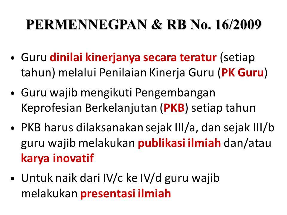 PERMENNEGPAN & RB No. 16/2009 Guru dinilai kinerjanya secara teratur (setiap tahun) melalui Penilaian Kinerja Guru (PK Guru)