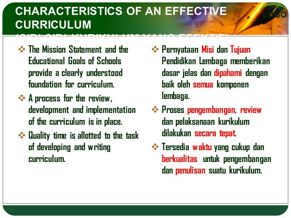 CHARACTERISTICS OF AN EFFECTIVE CURRICULUM (CIRI-CIRI KURIKULUM YANG EFEKTIF)