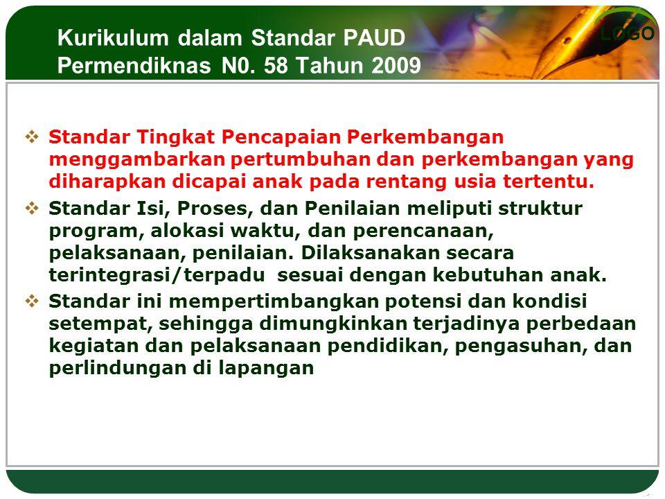Kurikulum dalam Standar PAUD Permendiknas N0. 58 Tahun 2009