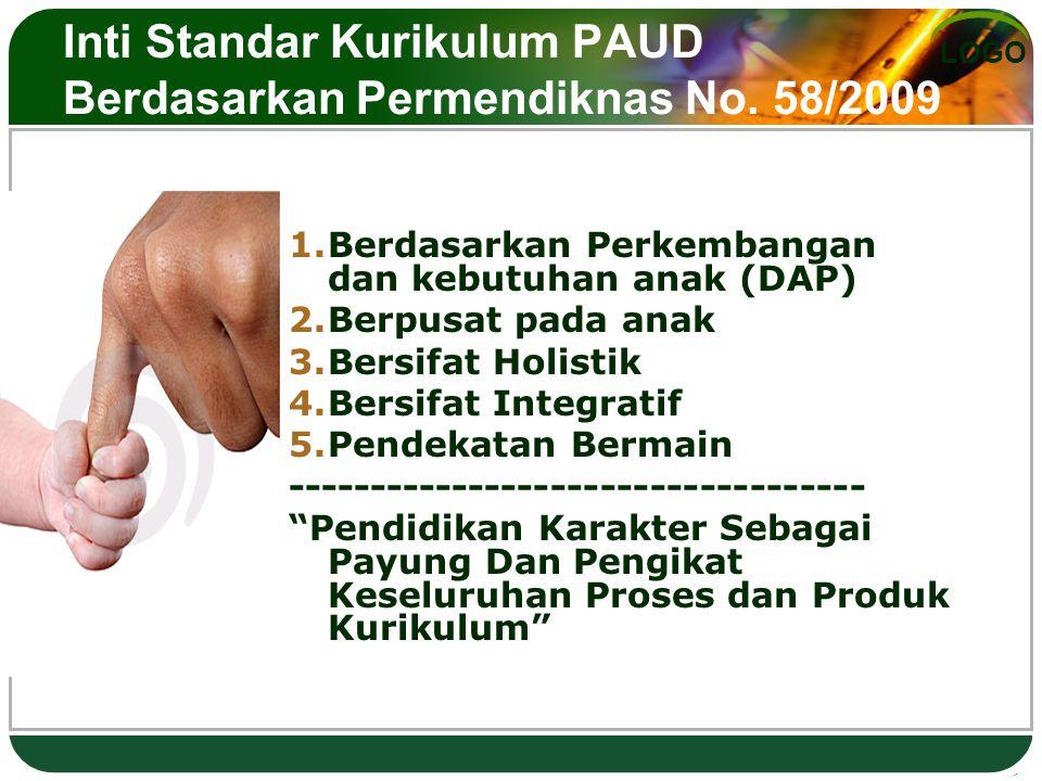 Inti Standar Kurikulum PAUD Berdasarkan Permendiknas No. 58/2009