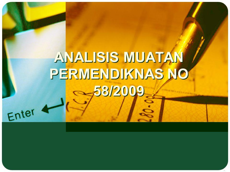 ANALISIS MUATAN PERMENDIKNAS NO 58/2009