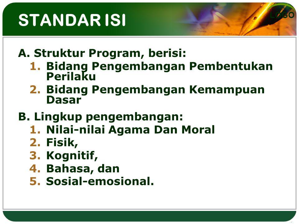 STANDAR ISI A. Struktur Program, berisi: