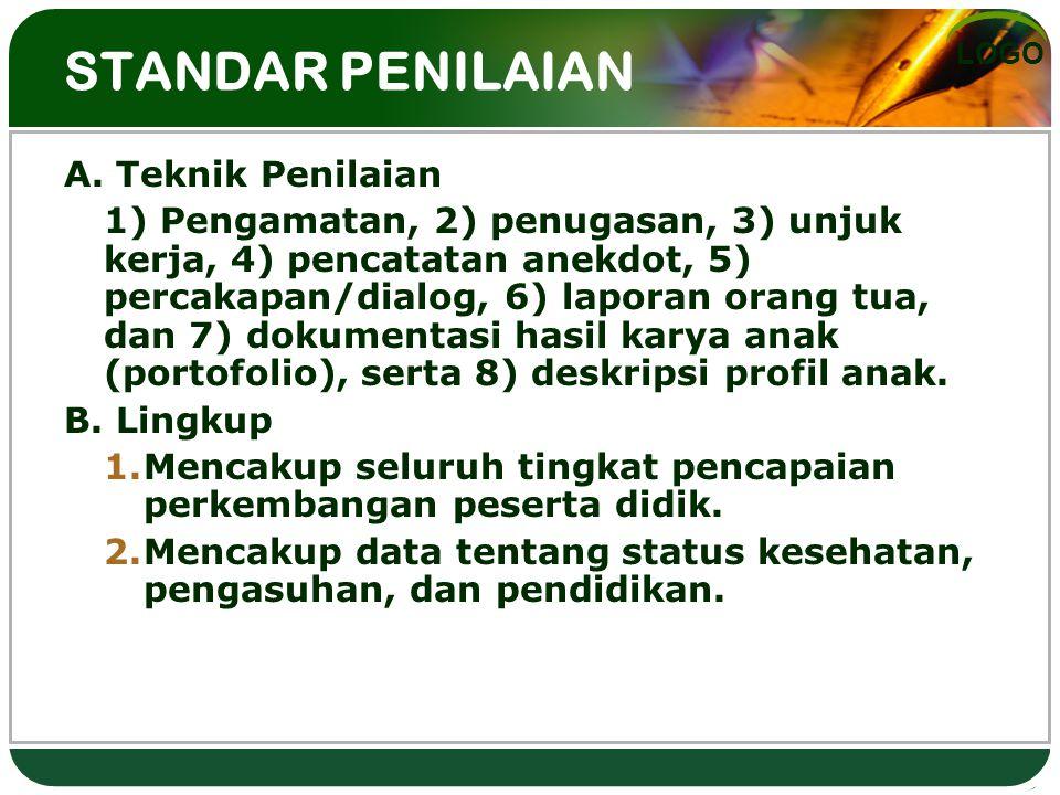 STANDAR PENILAIAN A. Teknik Penilaian