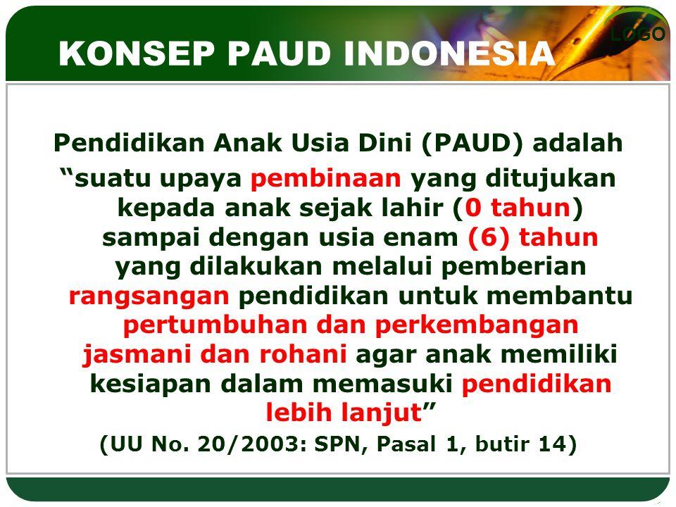 KONSEP PAUD INDONESIA Pendidikan Anak Usia Dini (PAUD) adalah