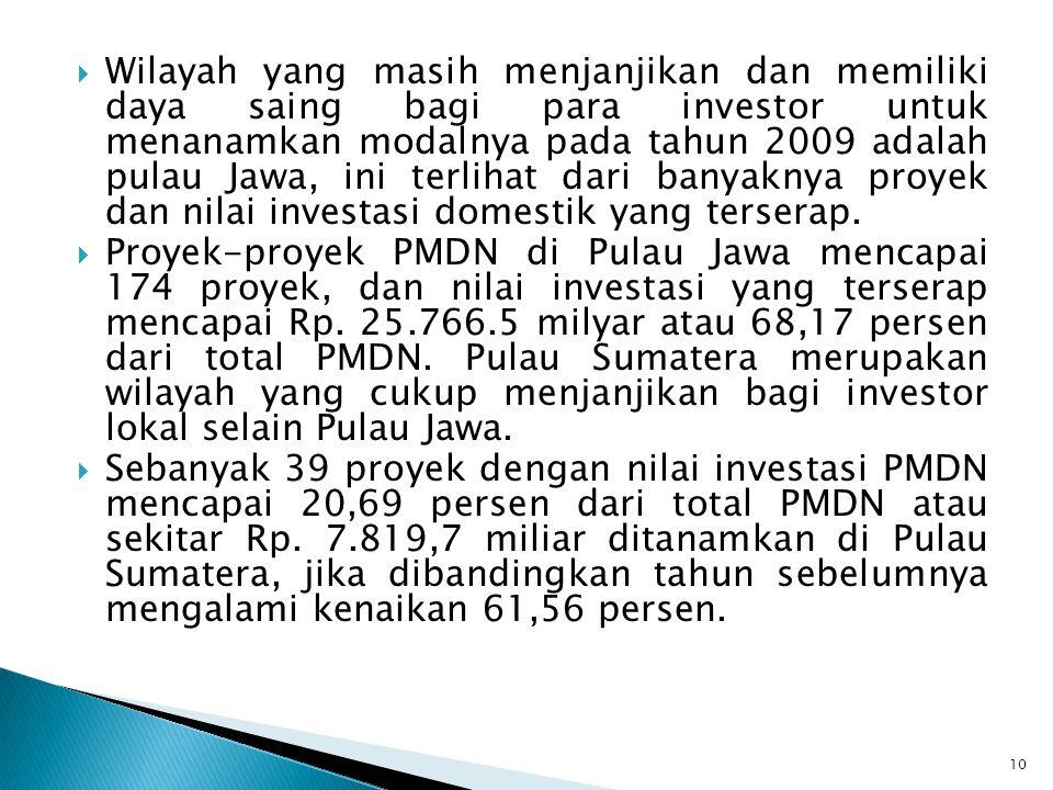 Wilayah yang masih menjanjikan dan memiliki daya saing bagi para investor untuk menanamkan modalnya pada tahun 2009 adalah pulau Jawa, ini terlihat dari banyaknya proyek dan nilai investasi domestik yang terserap.