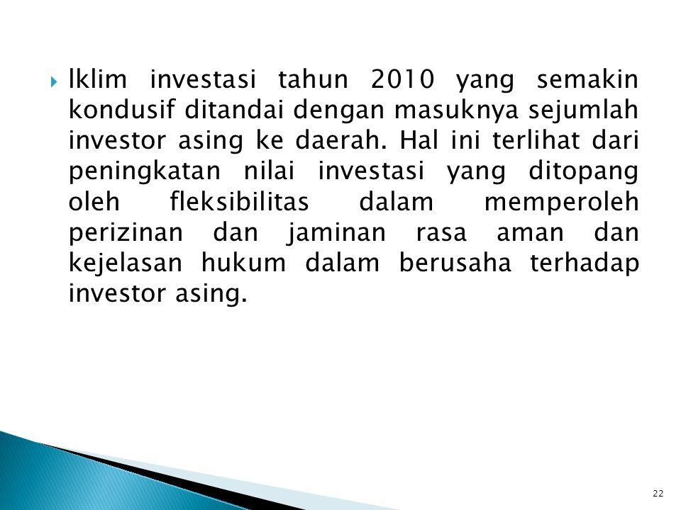 lklim investasi tahun 2010 yang semakin kondusif ditandai dengan masuknya sejumlah investor asing ke daerah.