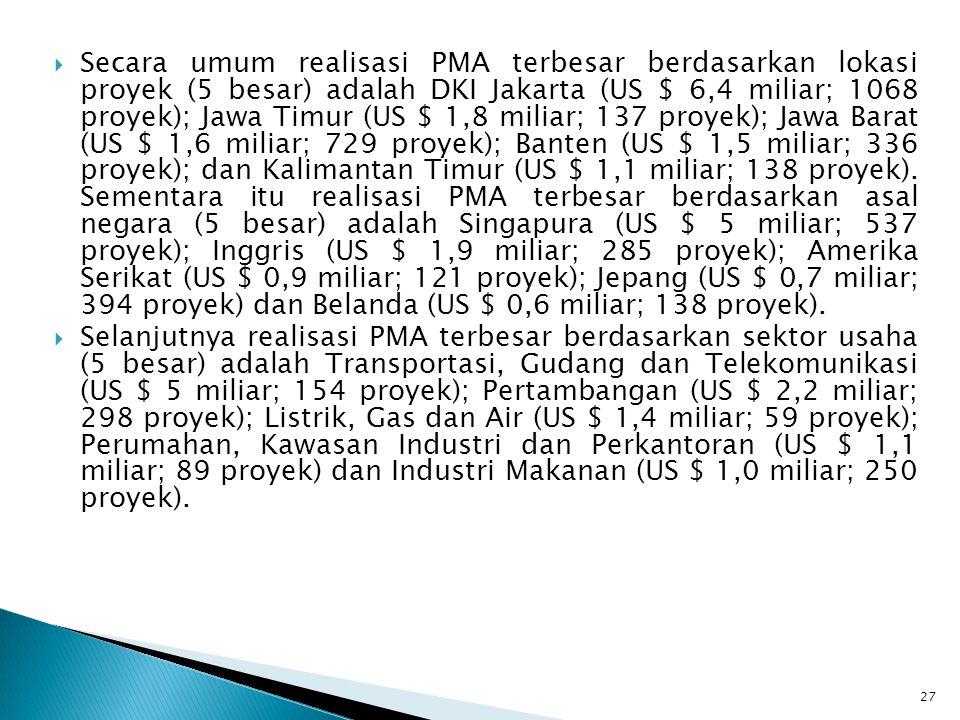 Secara umum realisasi PMA terbesar berdasarkan lokasi proyek (5 besar) adalah DKI Jakarta (US $ 6,4 miliar; 1068 proyek); Jawa Timur (US $ 1,8 miliar; 137 proyek); Jawa Barat (US $ 1,6 miliar; 729 proyek); Banten (US $ 1,5 miliar; 336 proyek); dan Kalimantan Timur (US $ 1,1 miliar; 138 proyek). Sementara itu realisasi PMA terbesar berdasarkan asal negara (5 besar) adalah Singapura (US $ 5 miliar; 537 proyek); Inggris (US $ 1,9 miliar; 285 proyek); Amerika Serikat (US $ 0,9 miliar; 121 proyek); Jepang (US $ 0,7 miliar; 394 proyek) dan Belanda (US $ 0,6 miliar; 138 proyek).