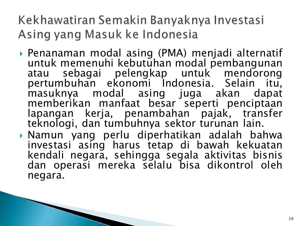 Kekhawatiran Semakin Banyaknya Investasi Asing yang Masuk ke Indonesia