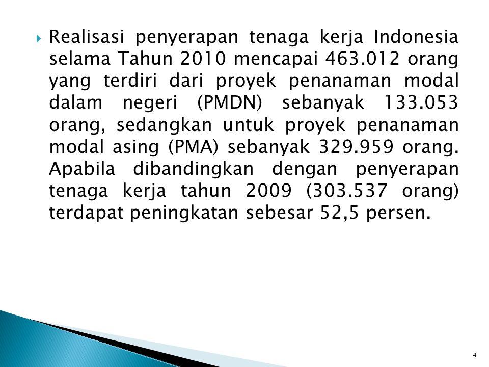 Realisasi penyerapan tenaga kerja Indonesia selama Tahun 2010 mencapai 463.012 orang yang terdiri dari proyek penanaman modal dalam negeri (PMDN) sebanyak 133.053 orang, sedangkan untuk proyek penanaman modal asing (PMA) sebanyak 329.959 orang.