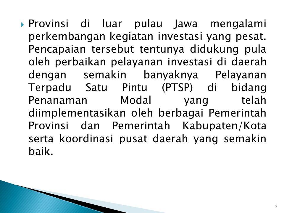 Provinsi di luar pulau Jawa mengalami perkembangan kegiatan investasi yang pesat.