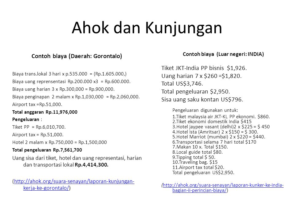 Contoh biaya (Daerah: Gorontalo) Contoh biaya (Luar negeri: INDIA)