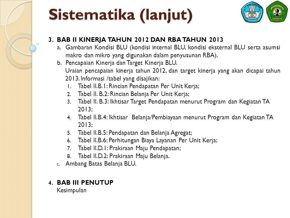 Sistematika (lanjut) BAB II KINERJA TAHUN 2012 DAN RBA TAHUN 2013