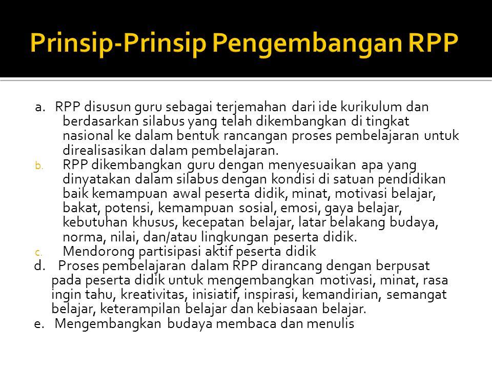 Prinsip-Prinsip Pengembangan RPP