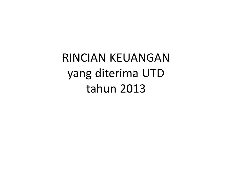 RINCIAN KEUANGAN yang diterima UTD tahun 2013