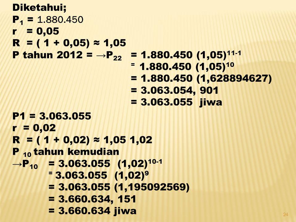 Diketahui; P1 = 1.880.450. r = 0,05. R = ( 1 + 0,05) ≈ 1,05. P tahun 2012 = →P22 = 1.880.450 (1,05)11-1.
