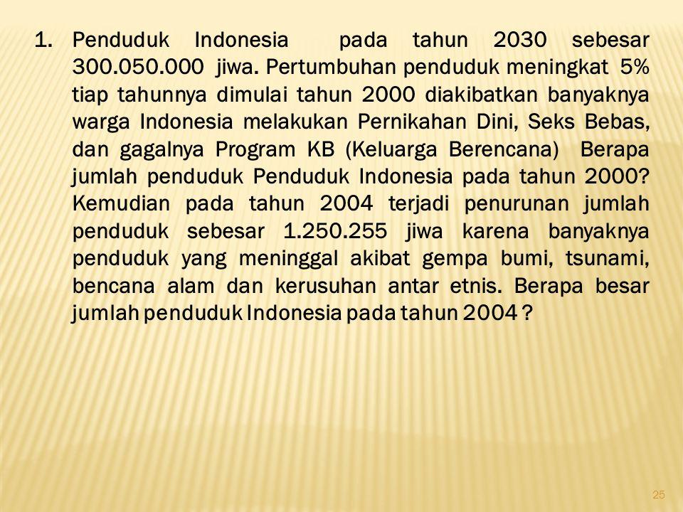 Penduduk Indonesia pada tahun 2030 sebesar 300. 050. 000 jiwa