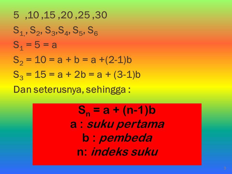 Sn = a + (n-1)b a : suku pertama b : pembeda n: indeks suku