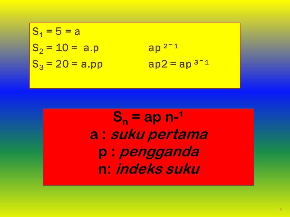 Sn = ap n-¹ a : suku pertama p : pengganda n: indeks suku S1 = 5 = a
