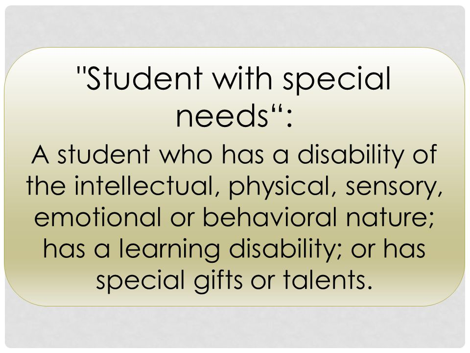 Student with special needs :