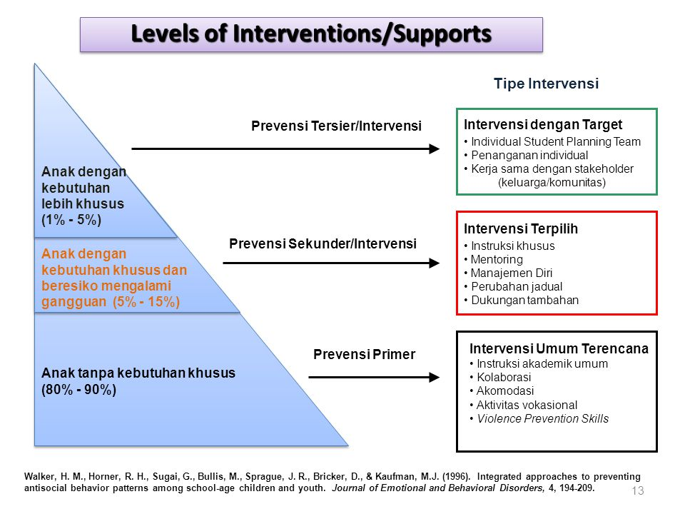 Levels of Interventions/Supports Prevensi Sekunder/Intervensi