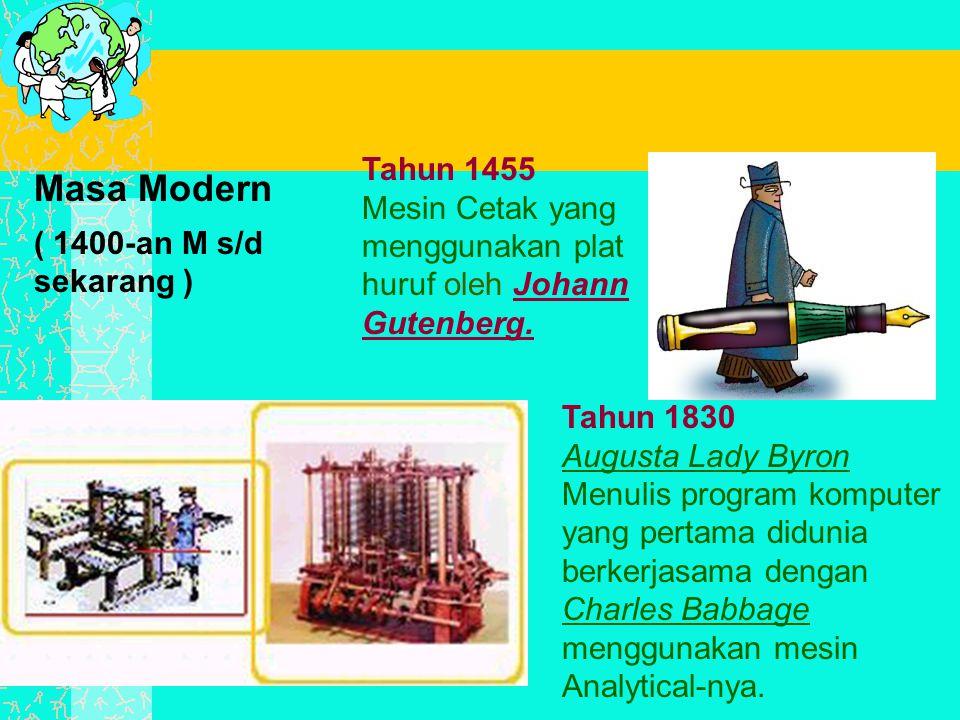 Tahun 1455 Mesin Cetak yang menggunakan plat huruf oleh Johann Gutenberg.