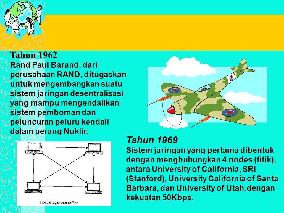Tahun 1962 Rand Paul Barand, dari perusahaan RAND, ditugaskan untuk mengembangkan suatu sistem jaringan desentralisasi yang mampu mengendalikan sistem pemboman dan peluncuran peluru kendali dalam perang Nuklir.