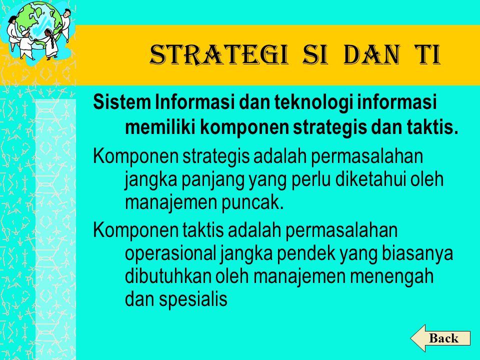 Strategi SI dan TI Sistem Informasi dan teknologi informasi memiliki komponen strategis dan taktis.