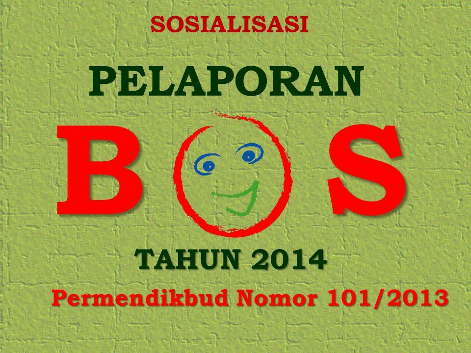 SOSIALISASI PELAPORAN B S TAHUN 2014 Permendikbud Nomor 101/2013