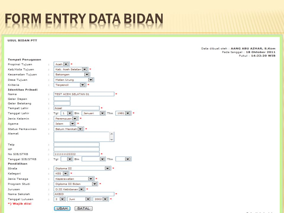 FORM ENTRY DATA BIDAN