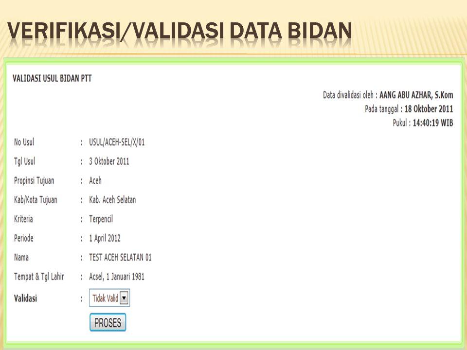 VERIFIKASI/VALIDASI DATA BIDAN