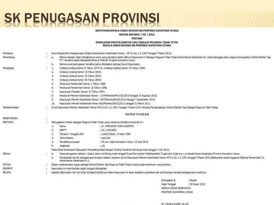 SK penugasan provinsi