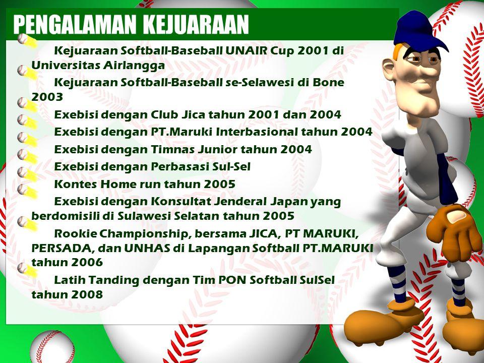PENGALAMAN KEJUARAAN Kejuaraan Softball-Baseball UNAIR Cup 2001 di Universitas Airlangga. Kejuaraan Softball-Baseball se-Selawesi di Bone 2003.