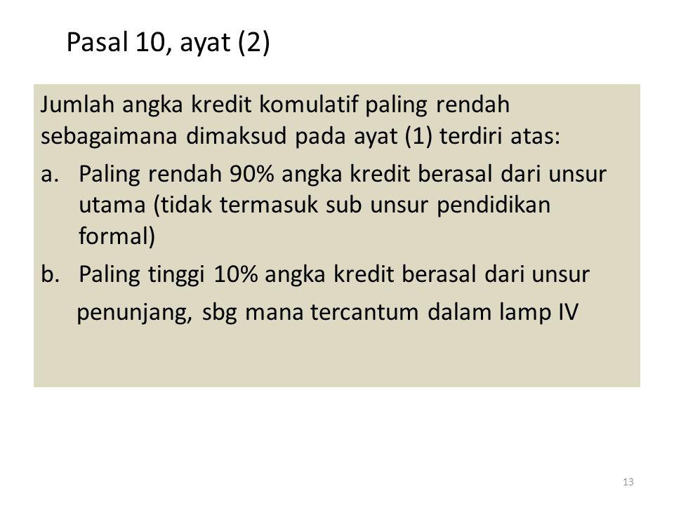 Pasal 10, ayat (2) Jumlah angka kredit komulatif paling rendah sebagaimana dimaksud pada ayat (1) terdiri atas:
