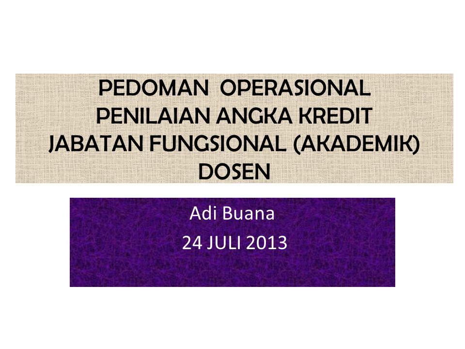 PEDOMAN OPERASIONAL PENILAIAN ANGKA KREDIT JABATAN FUNGSIONAL (AKADEMIK) DOSEN