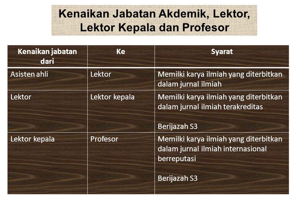 Kenaikan Jabatan Akdemik, Lektor, Lektor Kepala dan Profesor