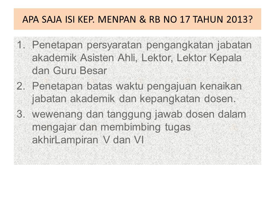 APA SAJA ISI KEP. MENPAN & RB NO 17 TAHUN 2013
