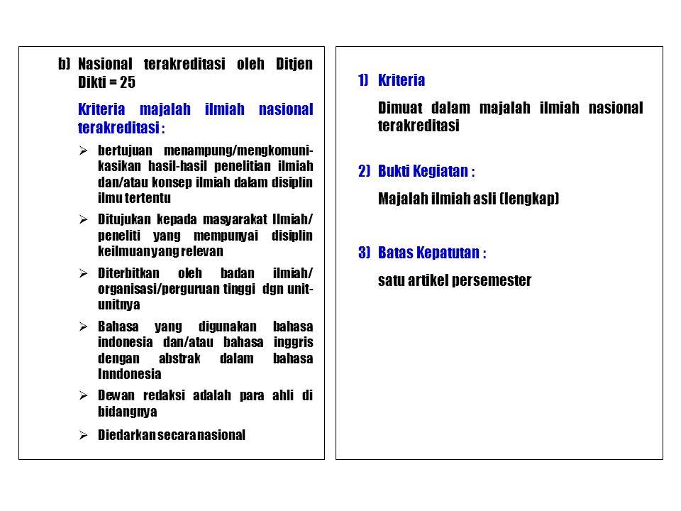 Kriteria majalah ilmiah nasional terakreditasi : 1) Kriteria