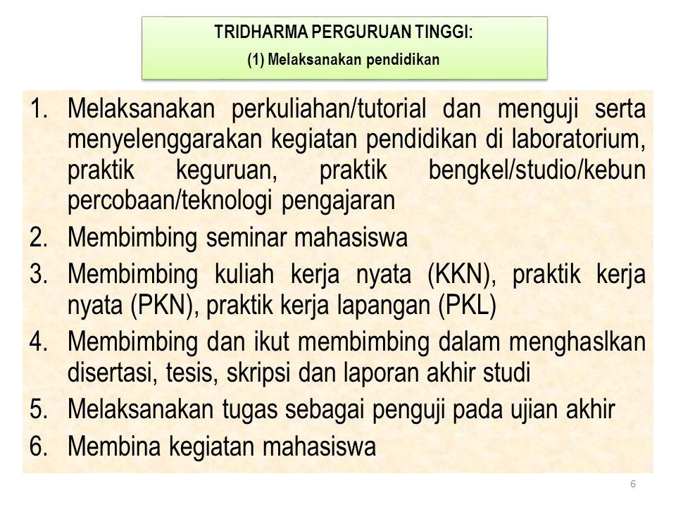 TRIDHARMA PERGURUAN TINGGI: (1) Melaksanakan pendidikan