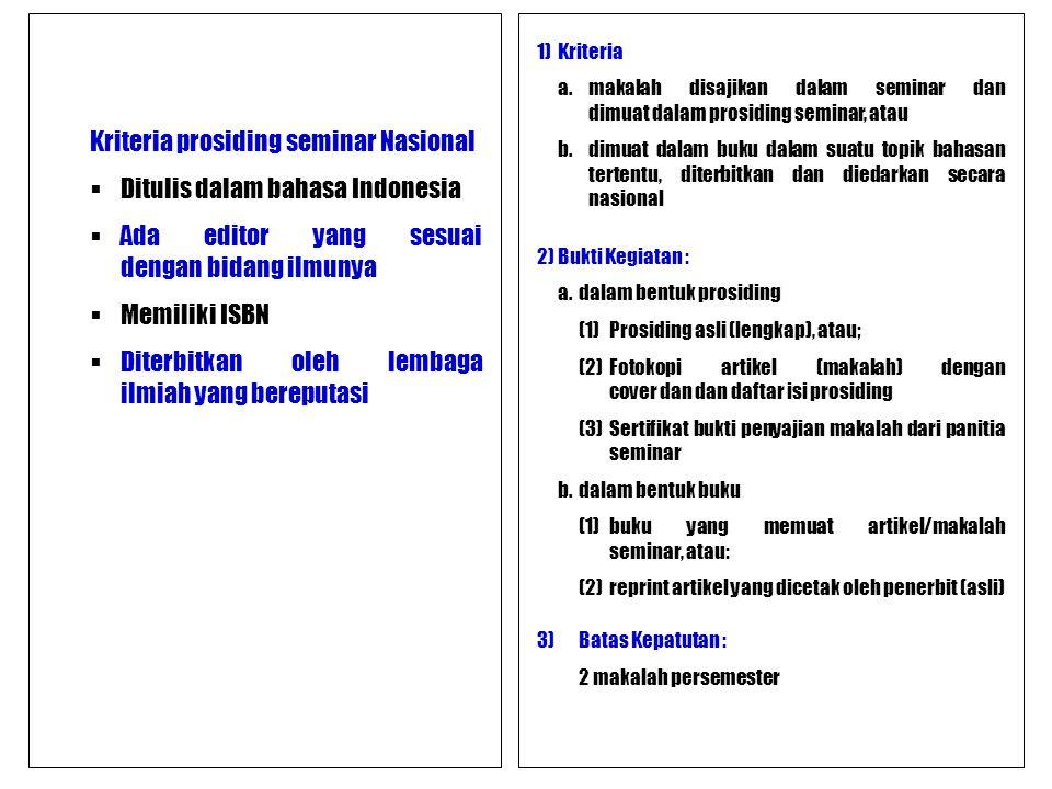 Kriteria prosiding seminar Nasional Ditulis dalam bahasa Indonesia