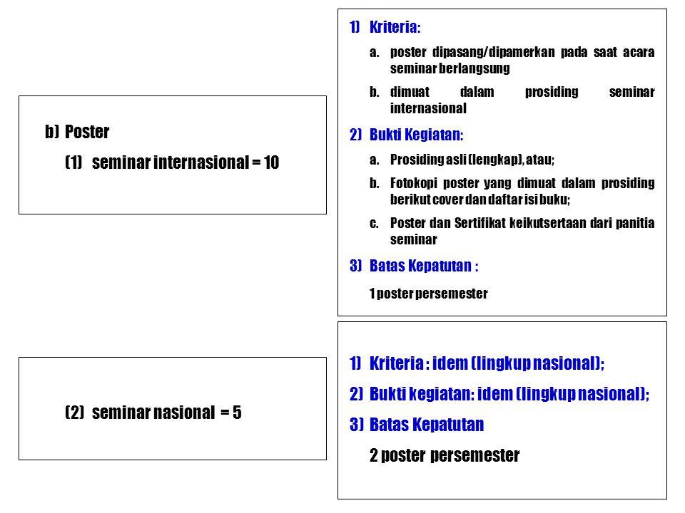 (1) seminar internasional = 10