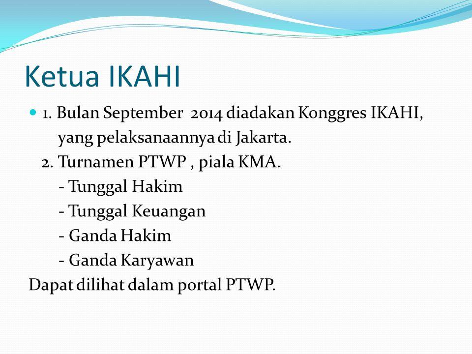 Ketua IKAHI 1. Bulan September 2014 diadakan Konggres IKAHI,