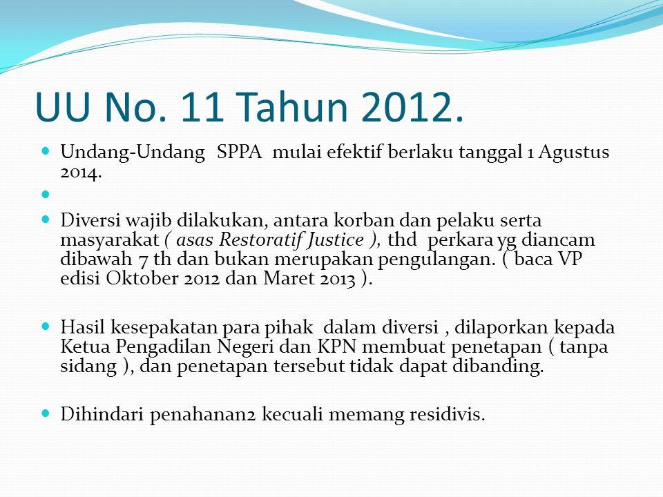 UU No. 11 Tahun 2012. Undang-Undang SPPA mulai efektif berlaku tanggal 1 Agustus 2014.