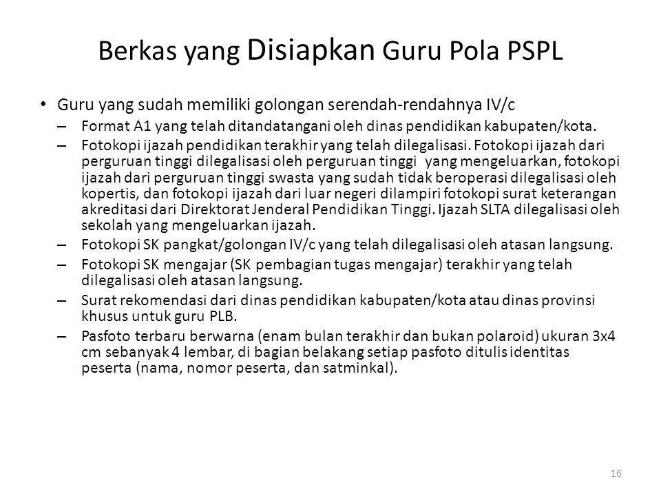 Berkas yang Disiapkan Guru Pola PSPL