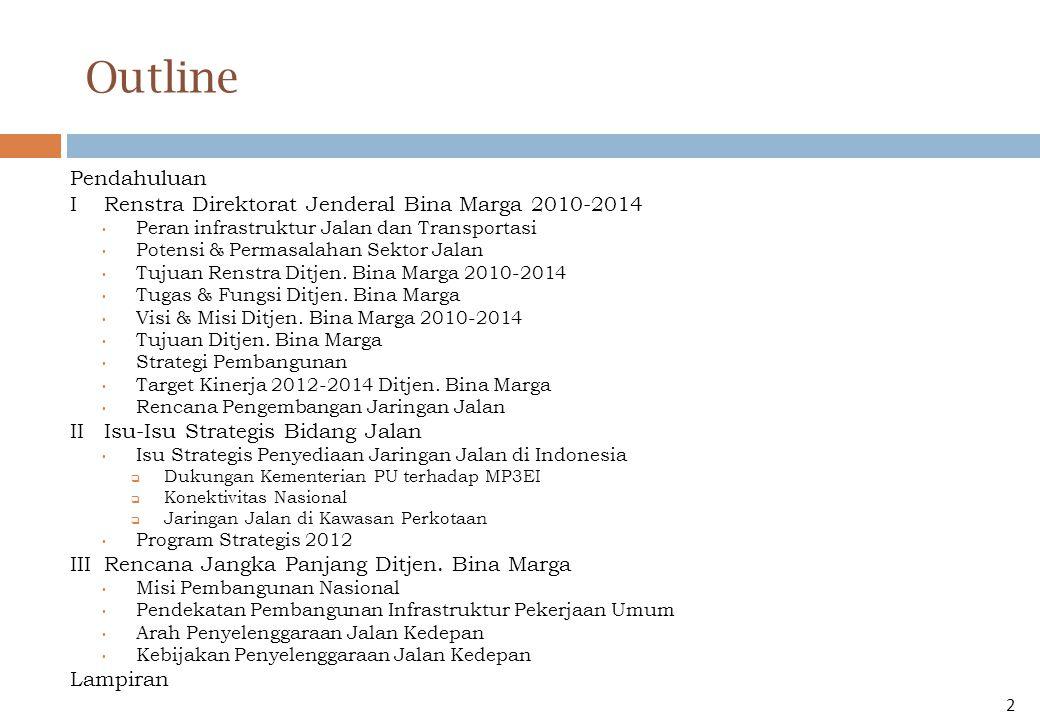 Outline Pendahuluan I Renstra Direktorat Jenderal Bina Marga 2010-2014
