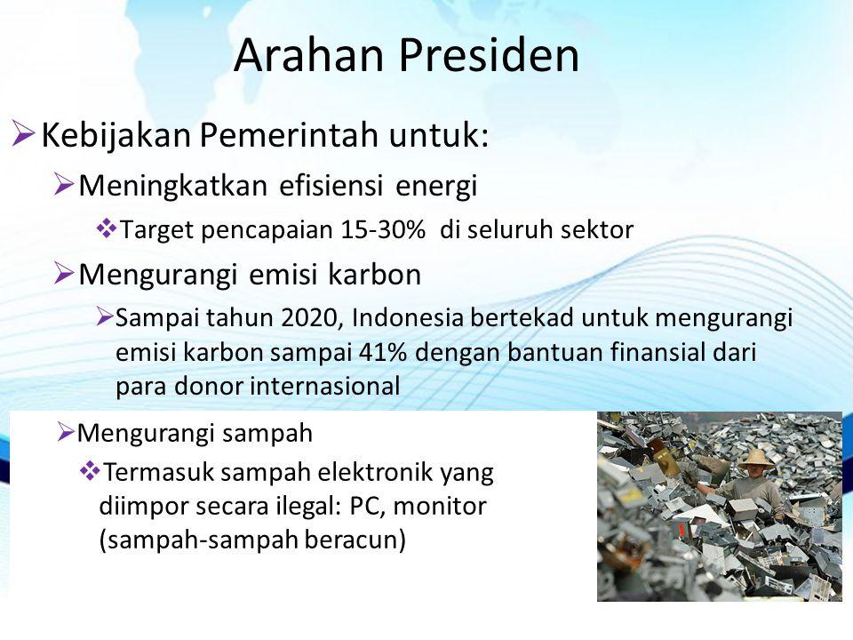 Arahan Presiden Kebijakan Pemerintah untuk: