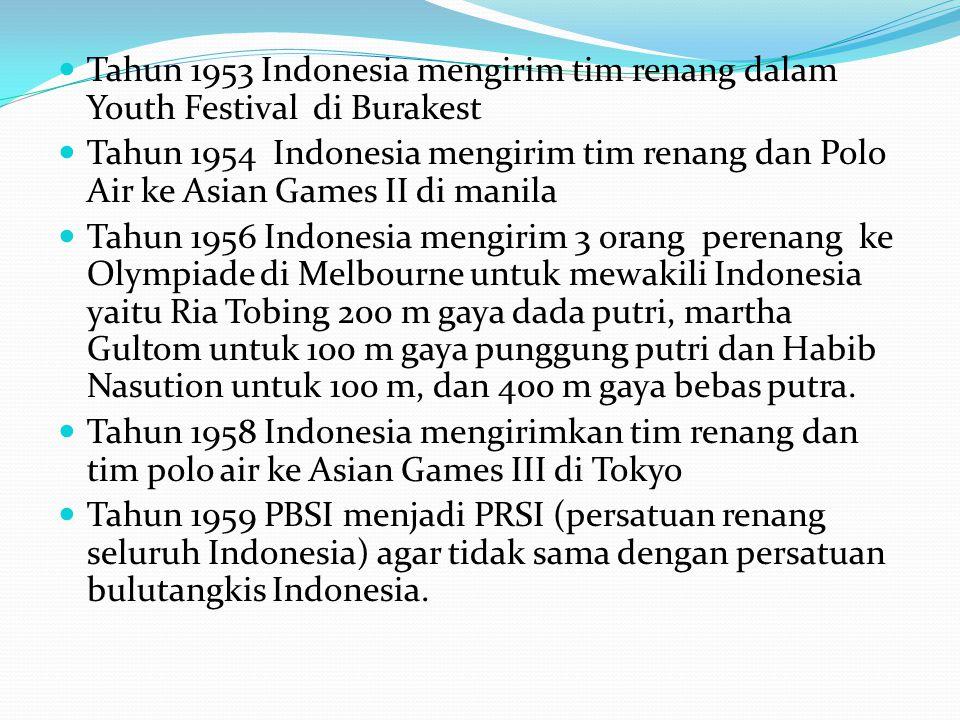 Tahun 1953 Indonesia mengirim tim renang dalam Youth Festival di Burakest