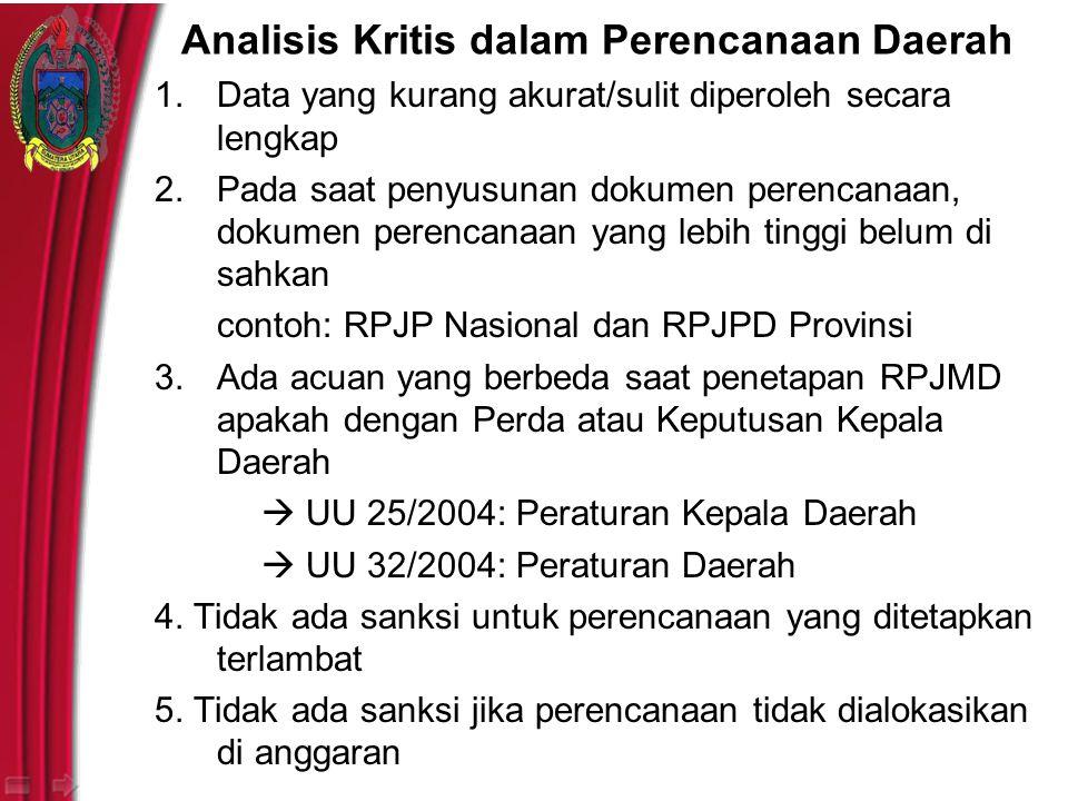 Analisis Kritis dalam Perencanaan Daerah